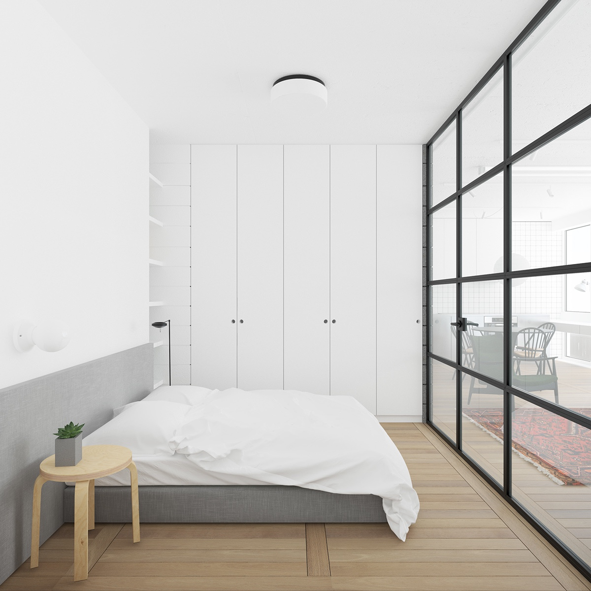 Bedroom Built In Closet Wooden Floors - 3 fabulously sleek studio apartments that are timeless