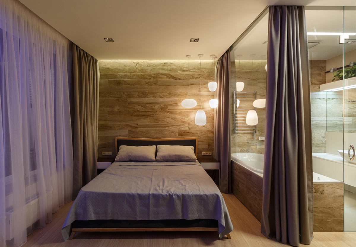 Bedroom Pendant Mood Lighting - A pair of stylish apartments that put their extra rooms to good use