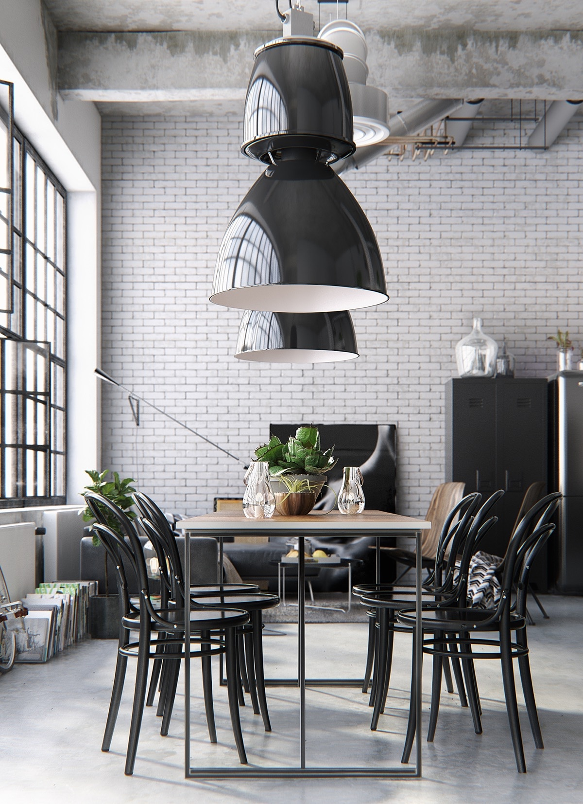 Black Framed Windows Large Pendant Lights Monochrome Dining Area - 30 black white dining rooms that work their monochrome magic