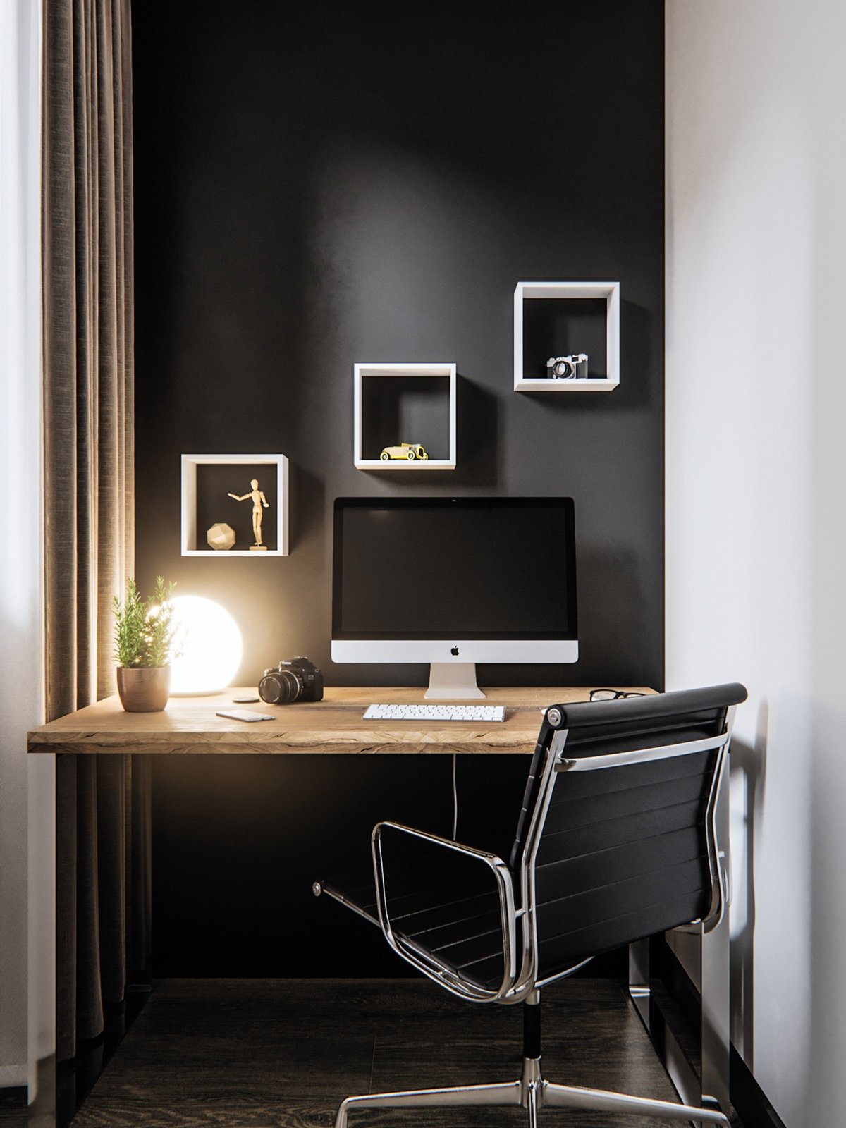 Black Home Office Design Inspiration - 3 modern studio apartments with glass walled bedrooms