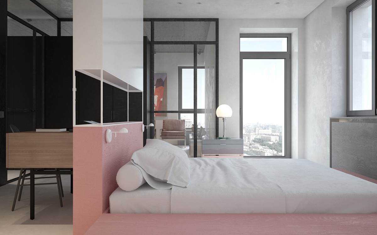 Built In Bed Glass Walls Study Area - 3 fabulously sleek studio apartments that are timeless
