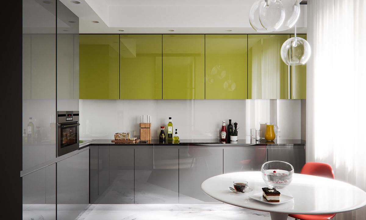 Chartreuse And Orange Kitchen Design - 3 modern studio apartments with glass walled bedrooms