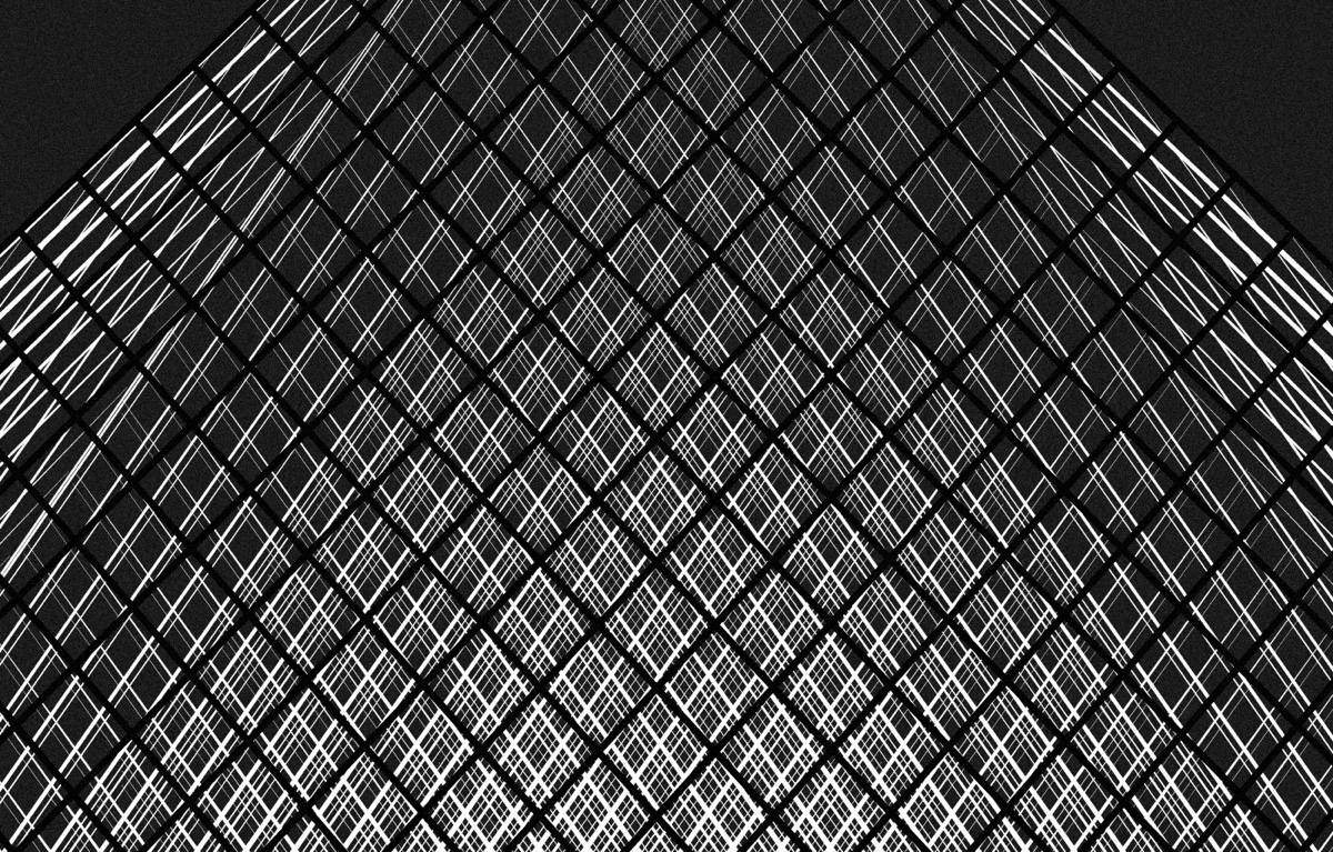 Close Up Of Louvre Pyramid Monochrome Render - Spectacular black white illustrations of iconic architectural landmarks by designer andrea minini
