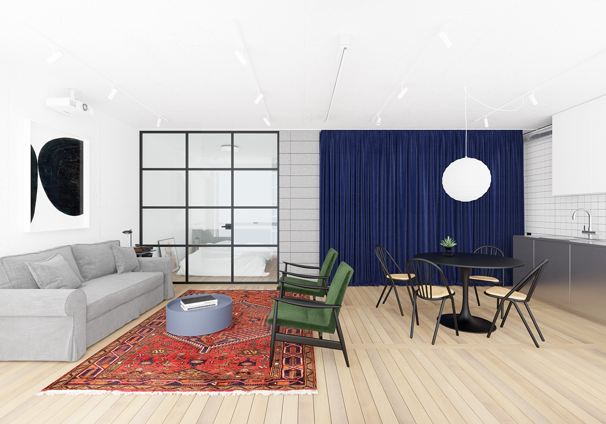 Colorful Living Room Dining Area With Wooden Floors - 3 fabulously sleek studio apartments that are timeless