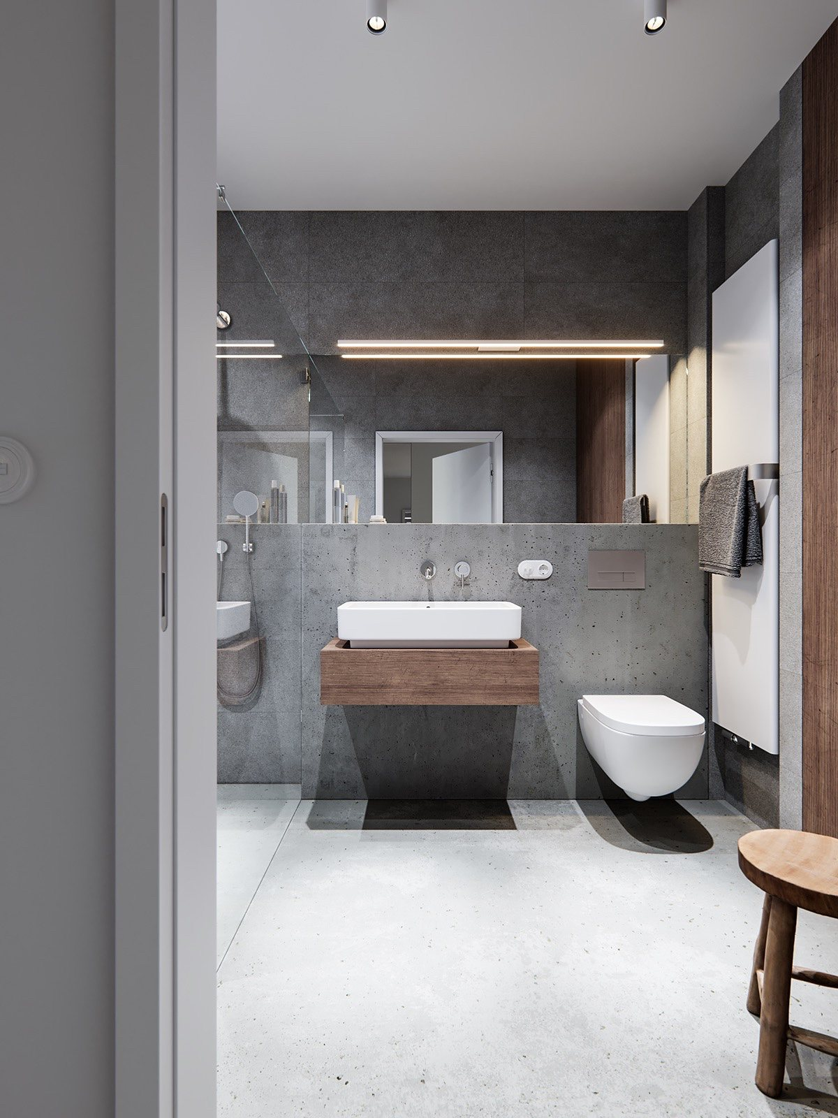 Concrete And Wood Bathroom Design - A pair of stylish apartments that put their extra rooms to good use