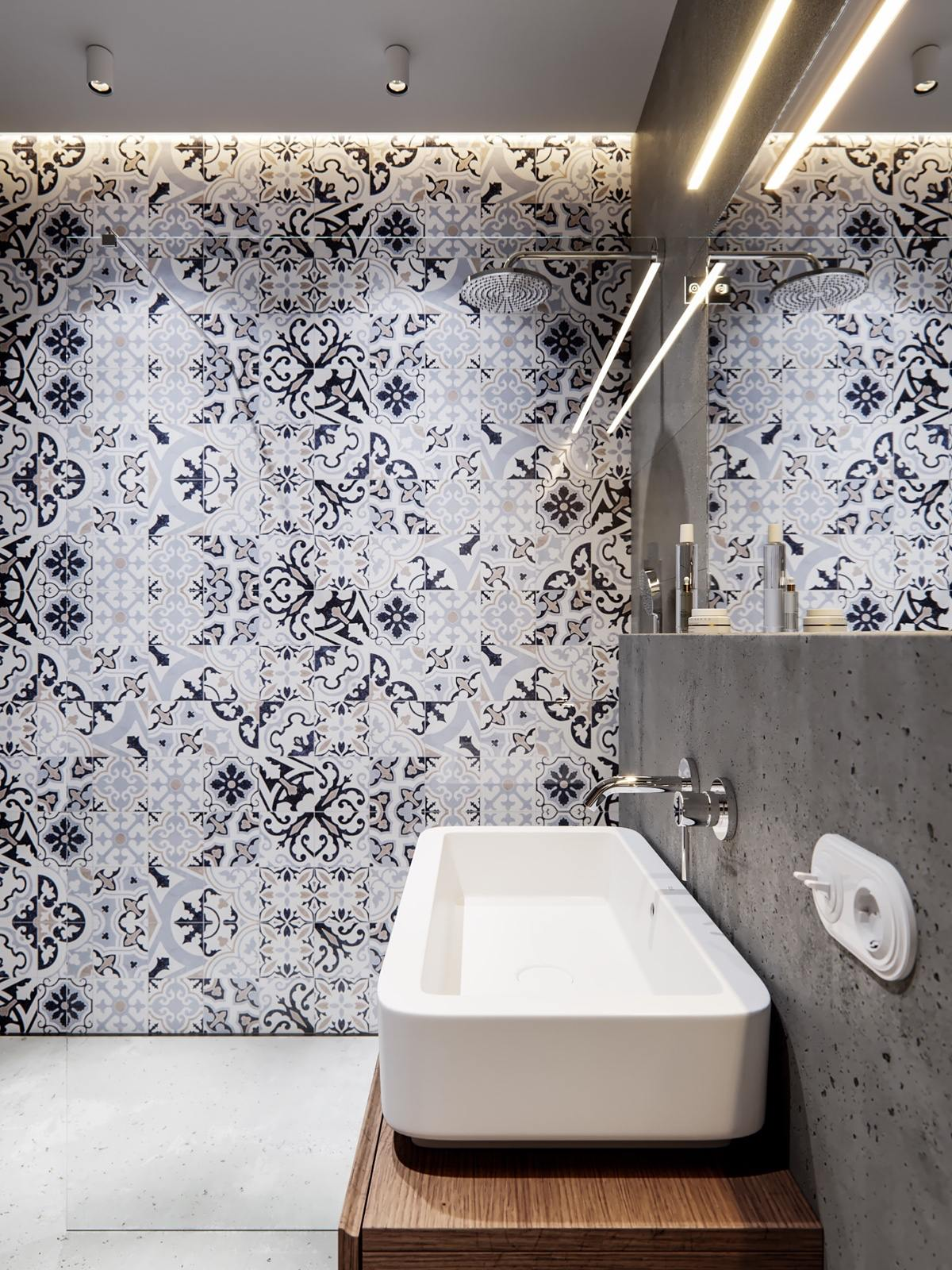 Creative Bathroom Tile Arrangement - A pair of stylish apartments that put their extra rooms to good use