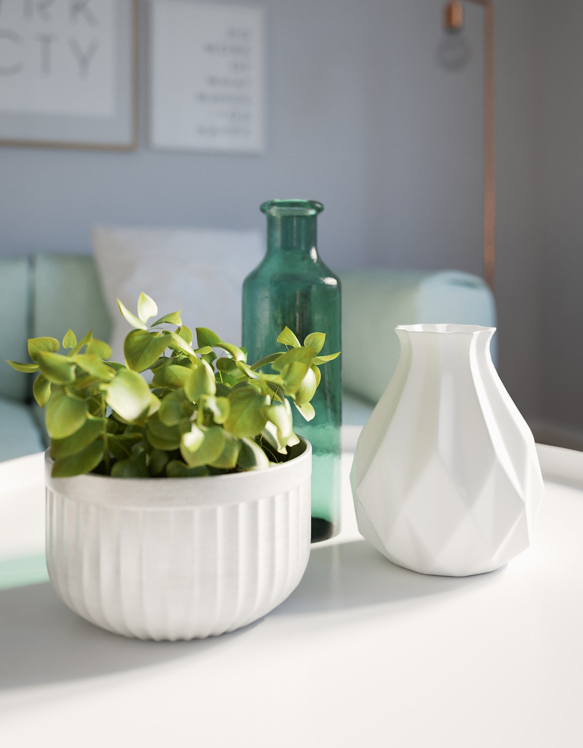 Cute White Ceramic Planters - 3 modern studio apartments with glass walled bedrooms