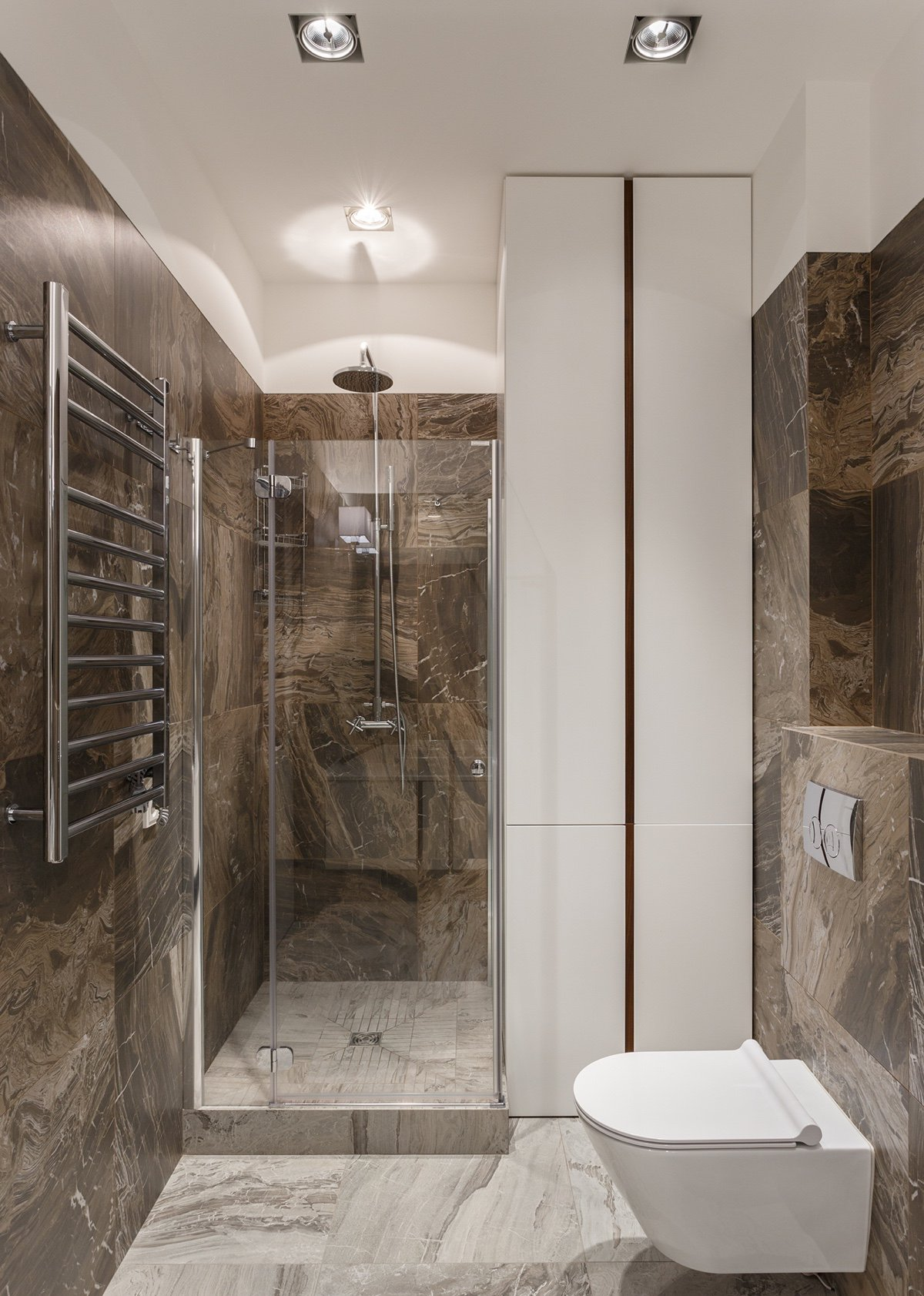 Dark Brown Stone Bathroom Wall Tiles - A pair of stylish apartments that put their extra rooms to good use