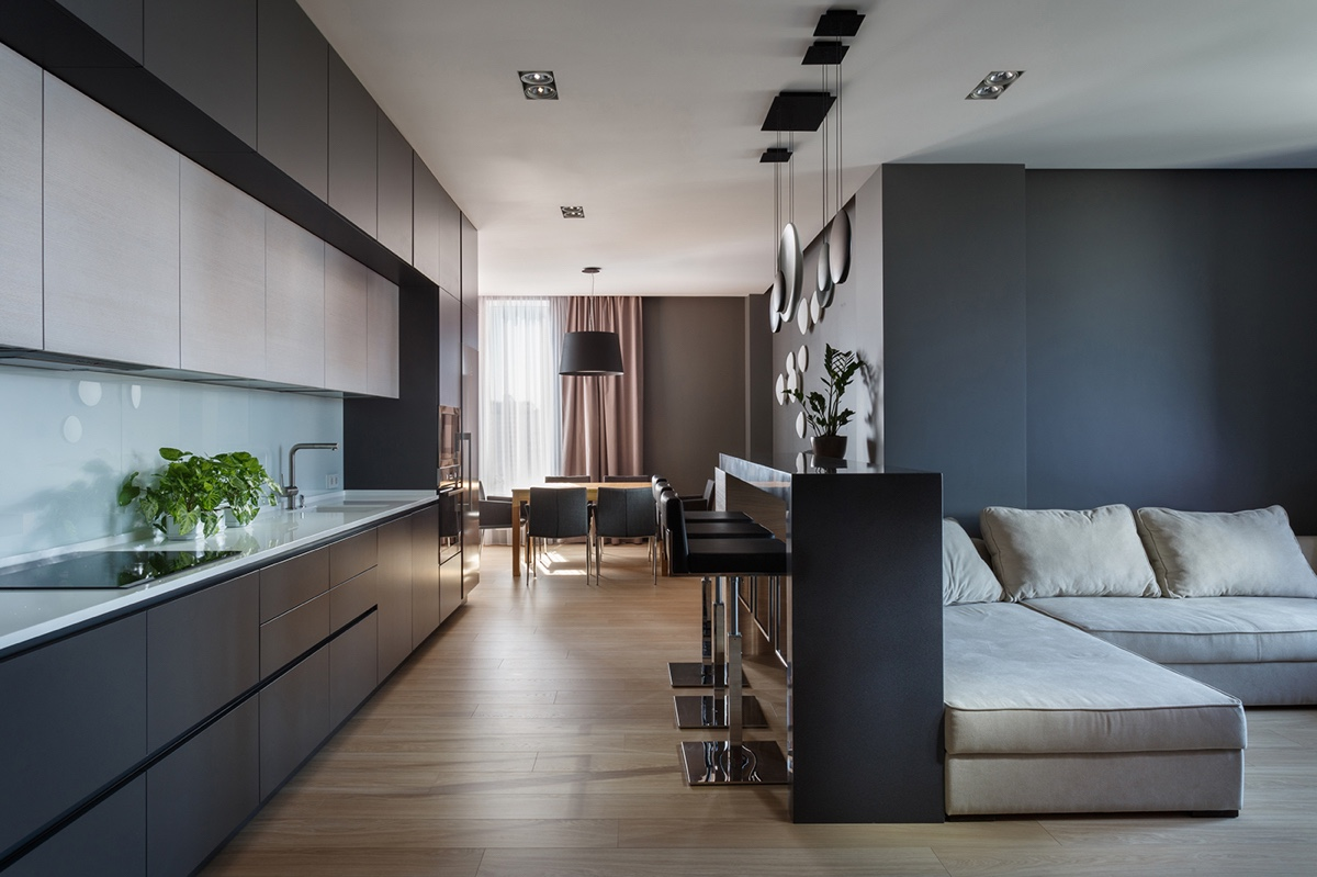 Dark Charcoal Walls In Modern Apartment - A pair of stylish apartments that put their extra rooms to good use