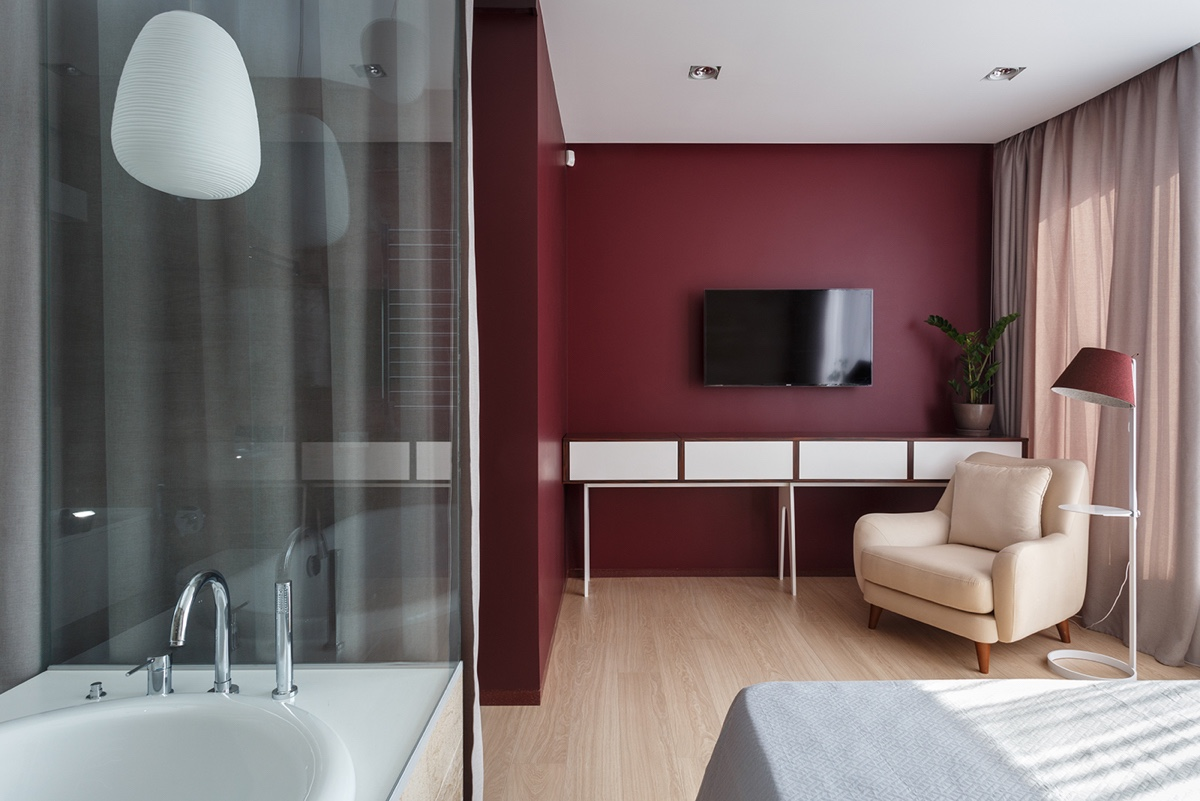 Dark Red Bedroom Color Scheme Ideas - A pair of stylish apartments that put their extra rooms to good use