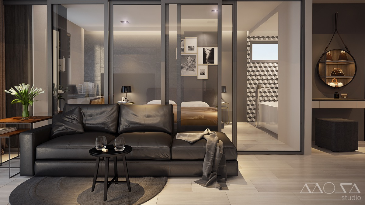 Dark Studio Apartment With Sliding Glass Bedroom Walls - 3 modern studio apartments with glass walled bedrooms