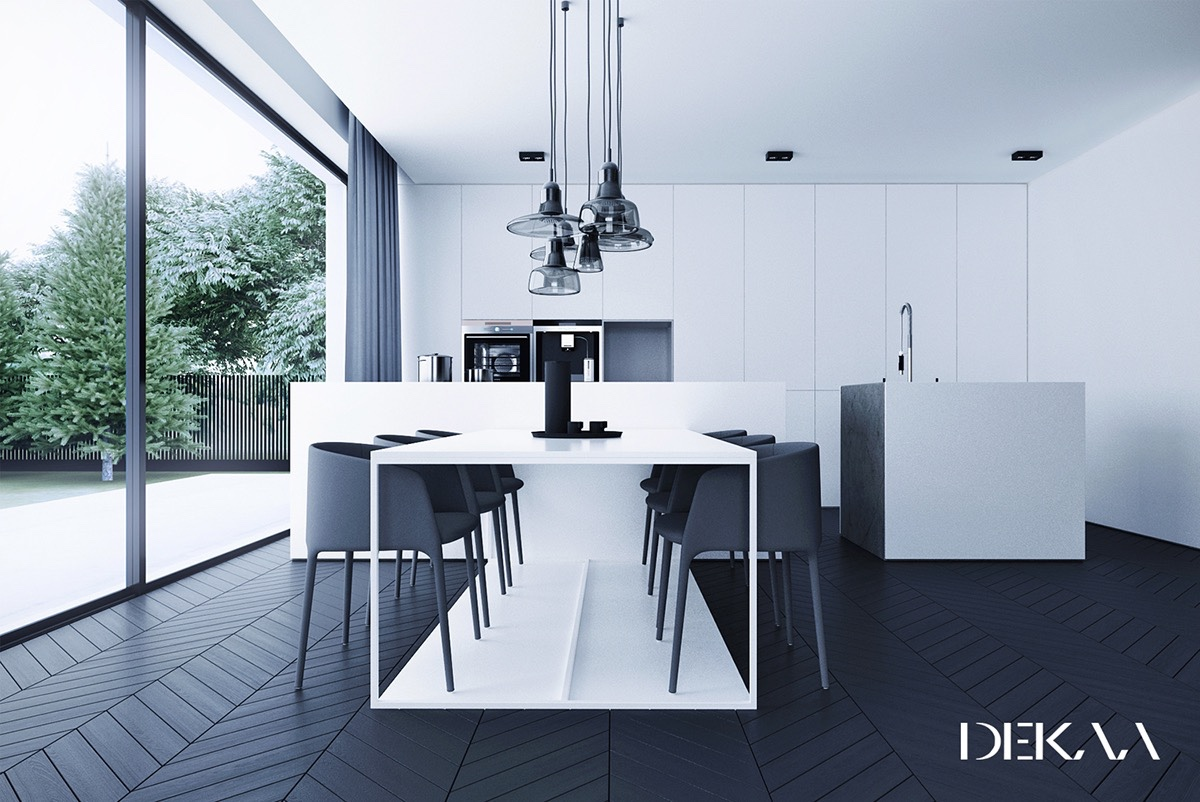 modern dining room black and white.  30 Black White Dining Rooms That Work Their Monochrome Magic