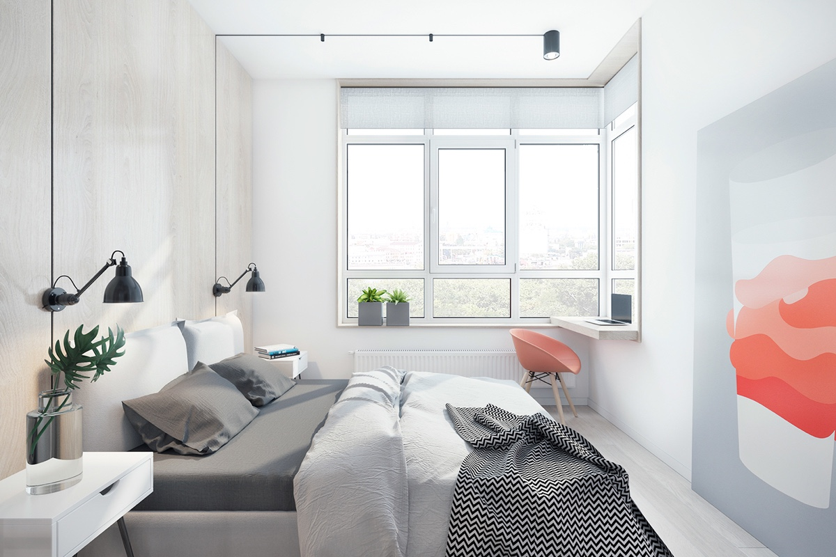 Double Bed Indoor Plants Wall Art Windows - 3 fabulously sleek studio apartments that are timeless