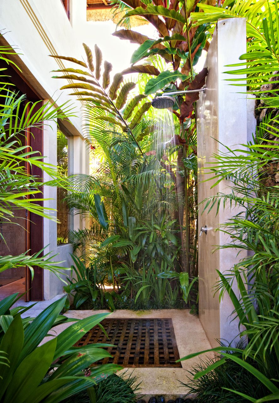 Fern Wooden Platform Outside Shower - 50 stunning outdoor shower spaces that take you to urban paradise