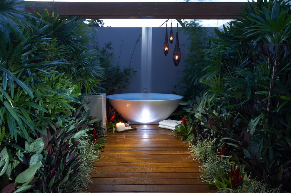 Forest Bath Scene Wooden Outside Shower - 50 stunning outdoor shower spaces that take you to urban paradise