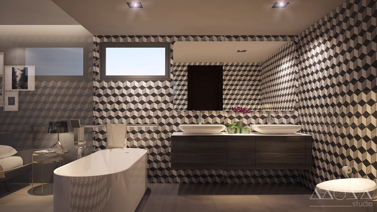 Geometric Bathroom Wall Tiles - 3 modern studio apartments with glass walled bedrooms