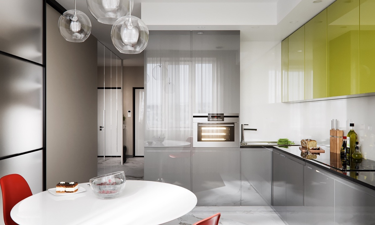 Glossy Kitchen Cabinetry - 3 modern studio apartments with glass walled bedrooms