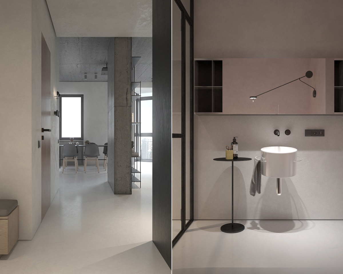 Grey Hallway And Bathroom Large Mirror - 3 fabulously sleek studio apartments that are timeless