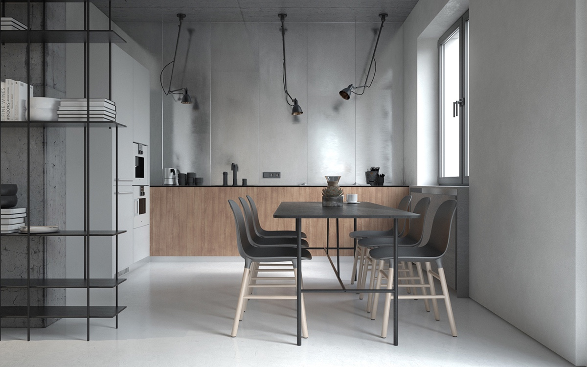 Grey Kitchen Dining Table Grey - 3 fabulously sleek studio apartments that are timeless