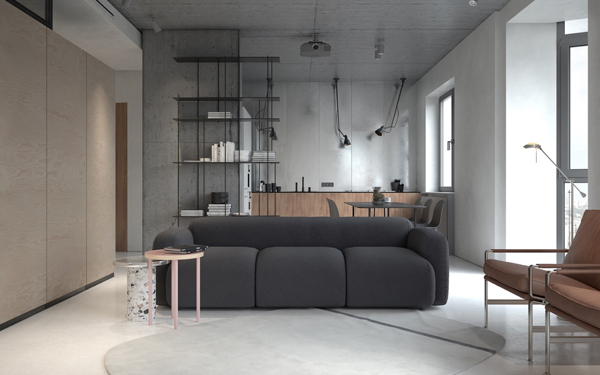 Grey Sofa End Tables Leather Chairs - 3 fabulously sleek studio apartments that are timeless