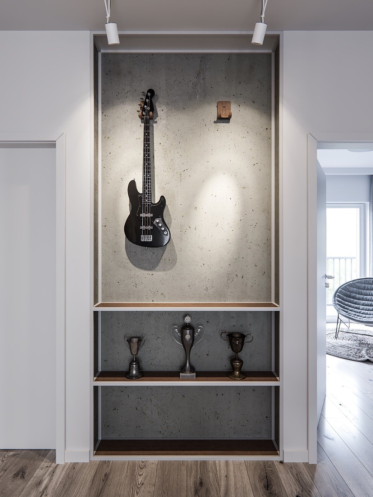 Home Guitar Display With Industrial Influences - A pair of stylish apartments that put their extra rooms to good use