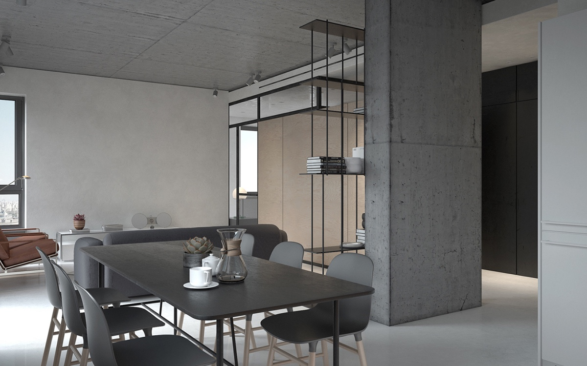 Industrial Interior Sleek Dining Tables Matching Chairs - 3 fabulously sleek studio apartments that are timeless