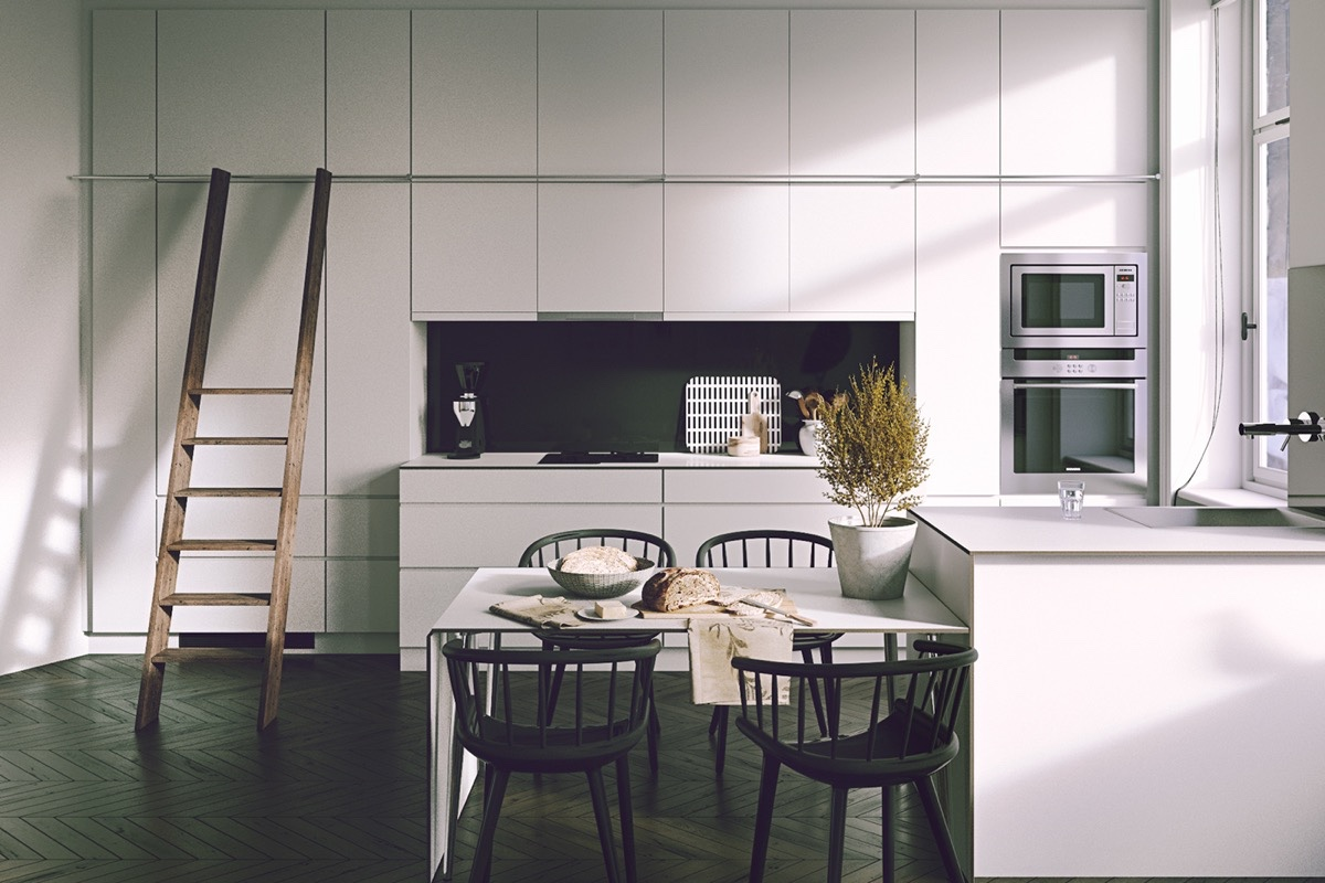 Integrated Kitchen With Ladder Black And White Dining Area - 30 black white dining rooms that work their monochrome magic