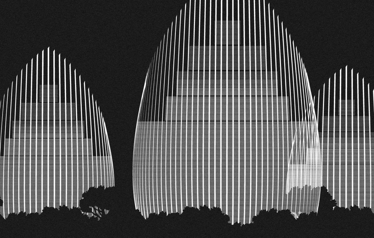 Jean Marie Tijibaou In Monochrome Drawing - Spectacular black white illustrations of iconic architectural landmarks by designer andrea minini