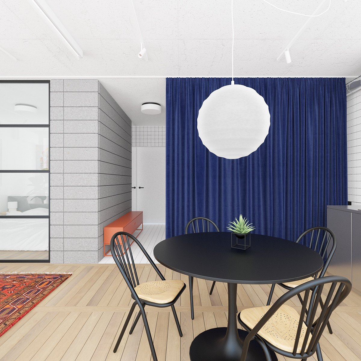 Kitchen Table Curtain Chinese Lamp Style Light - 3 fabulously sleek studio apartments that are timeless