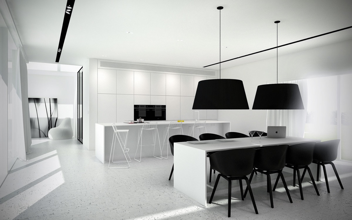 Large Pendant Lights Speckled Floor Monochrome Dining Room - 30 black white dining rooms that work their monochrome magic