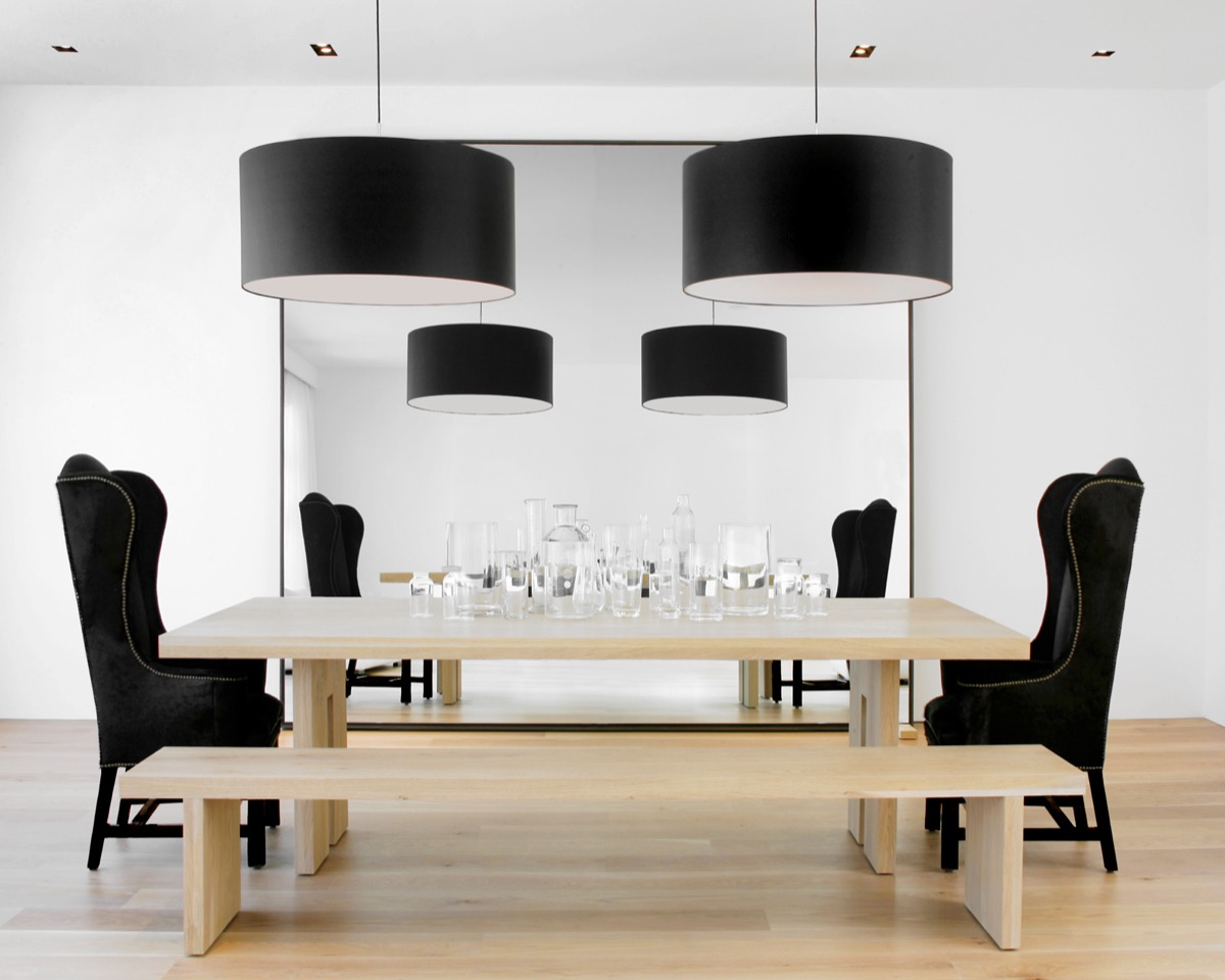 Light Wooden Table And Floor Black And White Dining Room - 30 black white dining rooms that work their monochrome magic