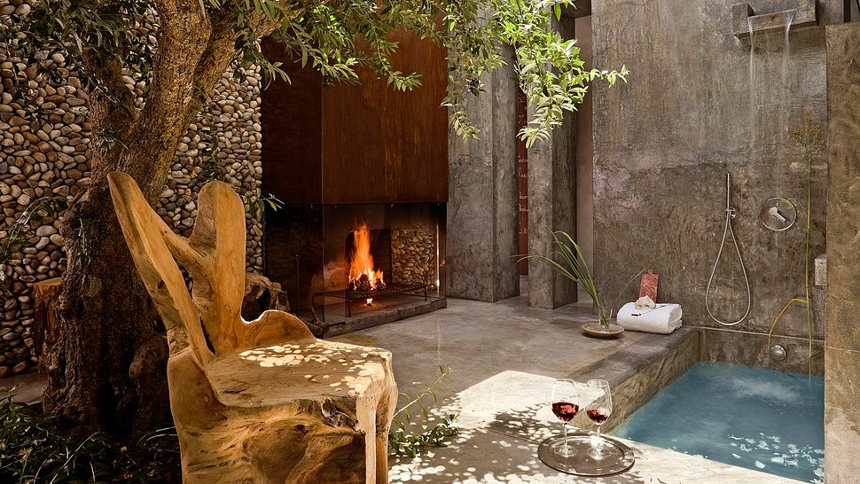 Lit Fire Private Pool Shower - 50 stunning outdoor shower spaces that take you to urban paradise