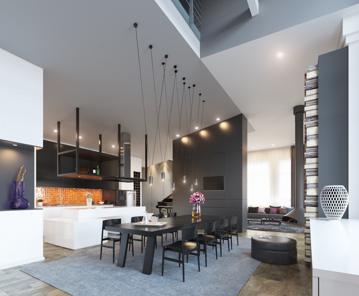 Magnetic Drop Lights Monochrome Dining Area - 30 black white dining rooms that work their monochrome magic