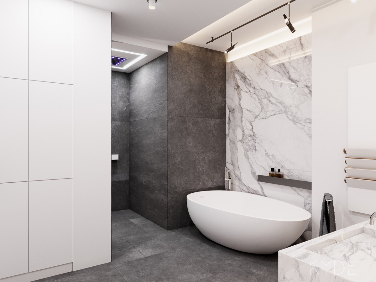 Marble Bathroom Contrasting Walls - A summer ready home perfect for your dream vacation