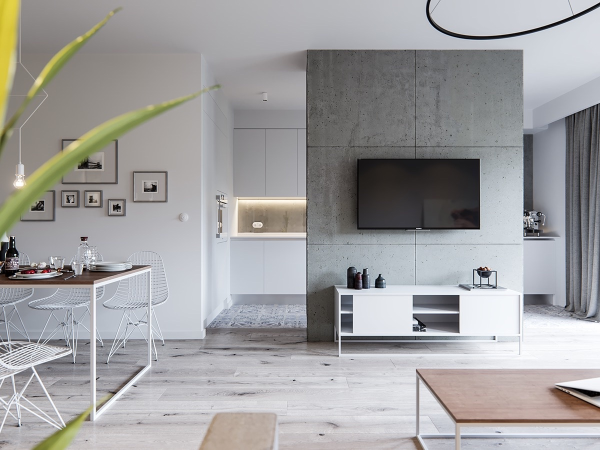 Minimalist Apartment With Concrete Accent Wall - A pair of stylish apartments that put their extra rooms to good use