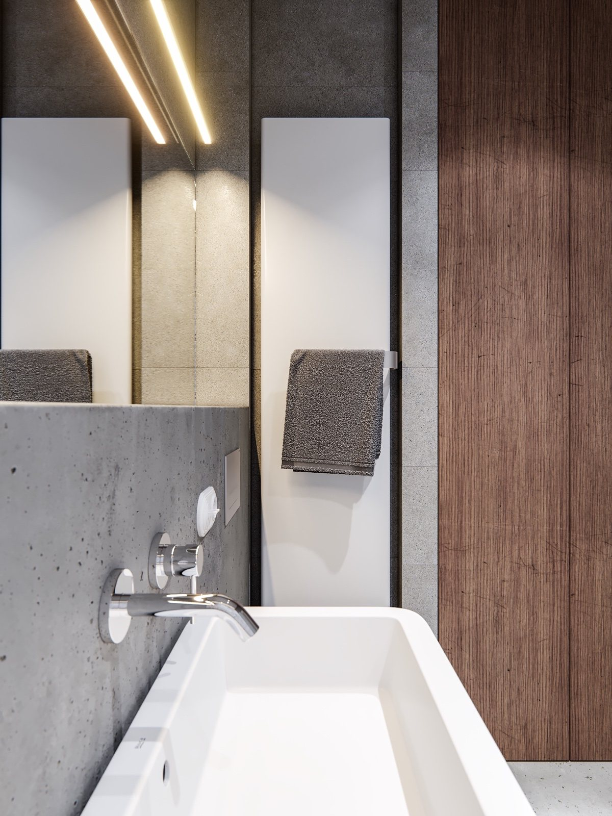 Modern Industrial Bathroom Design - A pair of stylish apartments that put their extra rooms to good use