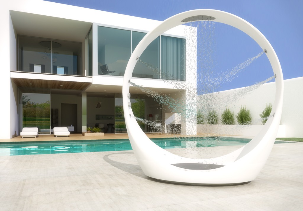 Modern White Circle Shower Outside - 50 stunning outdoor shower spaces that take you to urban paradise