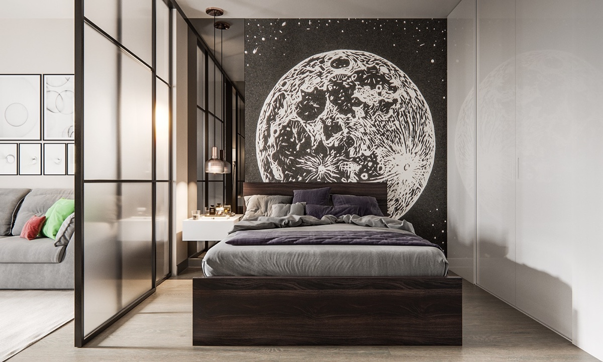 Moon Themed Studio Apartment Bedroom - 3 modern studio apartments with glass walled bedrooms