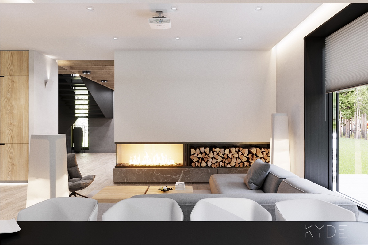 Open Fireplace With Stacked Wood - A summer ready home perfect for your dream vacation