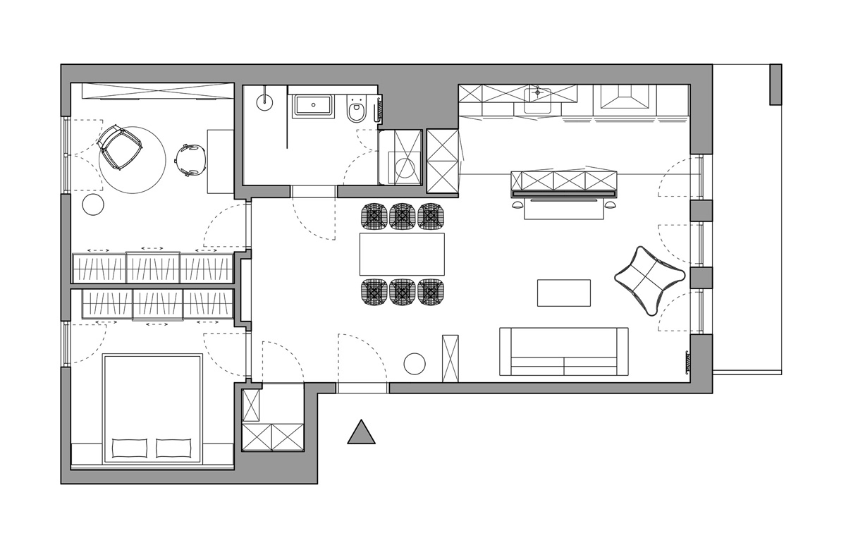 Open Layout Apartment Floor Plan With Library - A pair of stylish apartments that put their extra rooms to good use