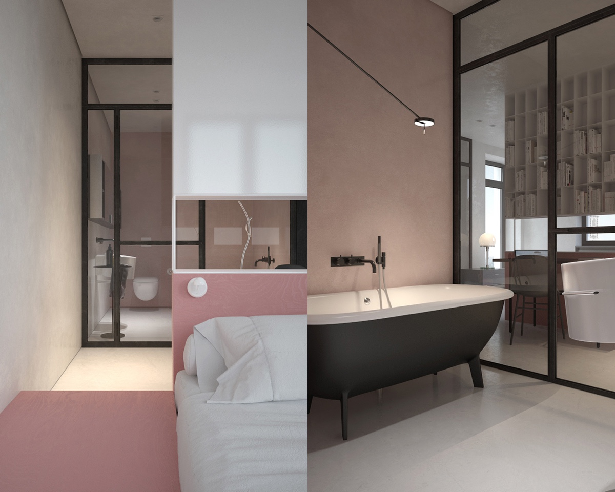 Open Plan Bedroom And Bathroom - 3 fabulously sleek studio apartments that are timeless