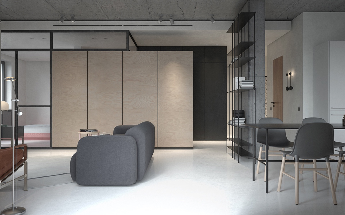 Open Plan Living Room And Dining Area - 3 fabulously sleek studio apartments that are timeless