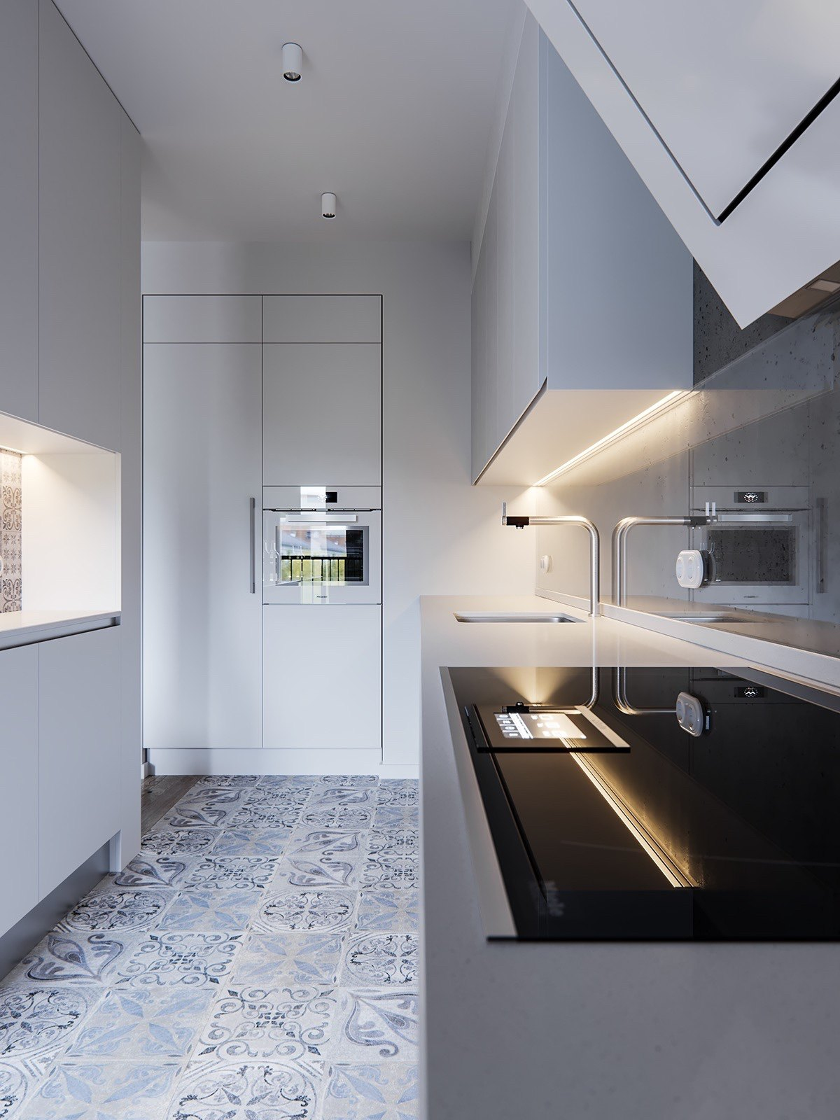 Patterned Tiles In Minimalist Kitchen - A pair of stylish apartments that put their extra rooms to good use