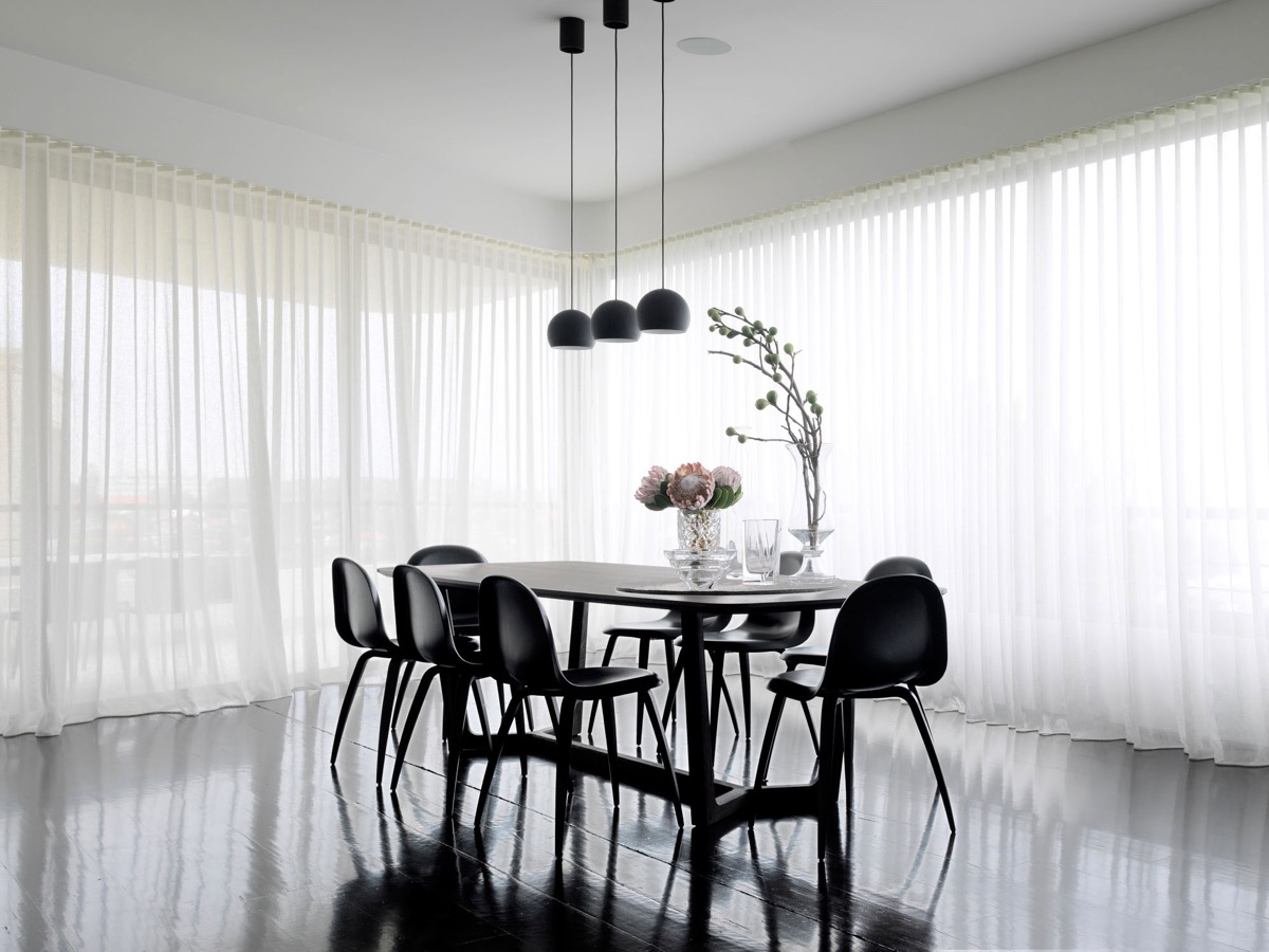 Polished Floor Chiffon Curtains Monochrome Dining Room - 30 black white dining rooms that work their monochrome magic