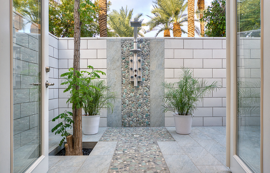 Potted Plants Tiled Backyard Shower - 50 stunning outdoor shower spaces that take you to urban paradise