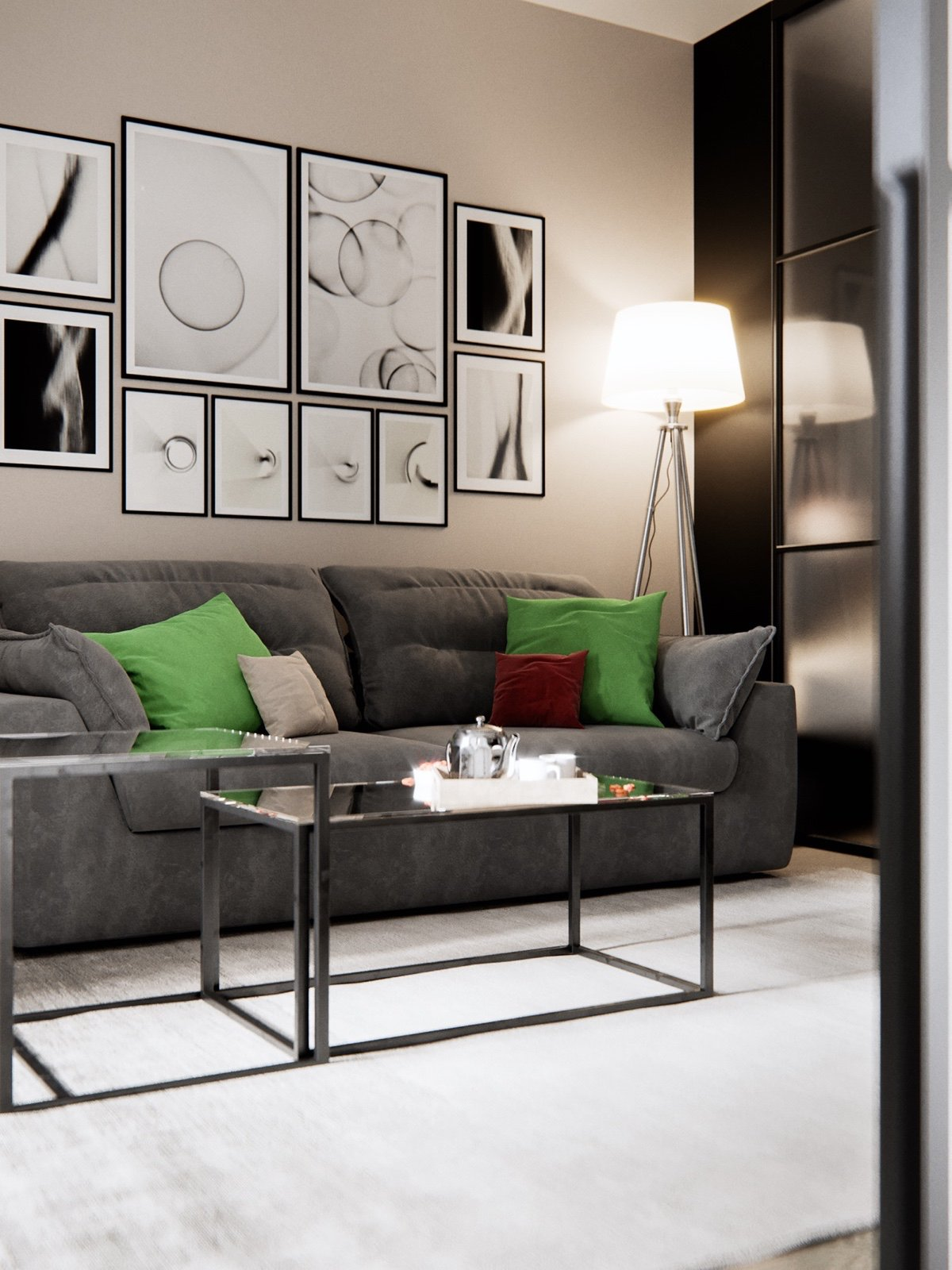 Red And Green Living Room Color Scheme - 3 modern studio apartments with glass walled bedrooms