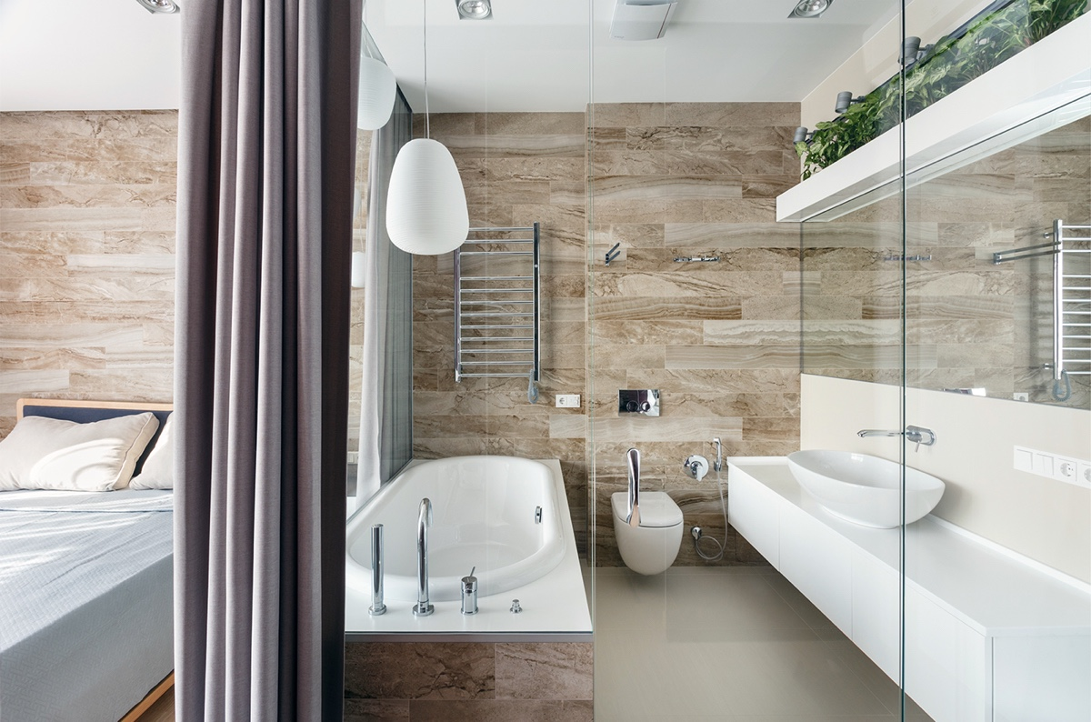 Relaxing Bathroom In Master Bedroom - A pair of stylish apartments that put their extra rooms to good use
