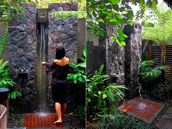 Rock Wall Wooden Floor Garden Shower Ideas - 50 stunning outdoor shower spaces that take you to urban paradise
