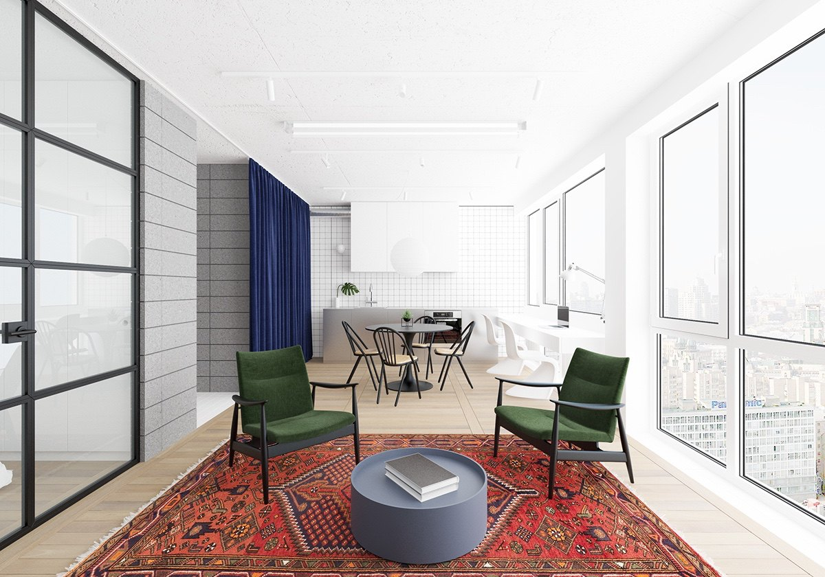 Sitting Area Oriental Rug Colorful Chairs - 3 fabulously sleek studio apartments that are timeless