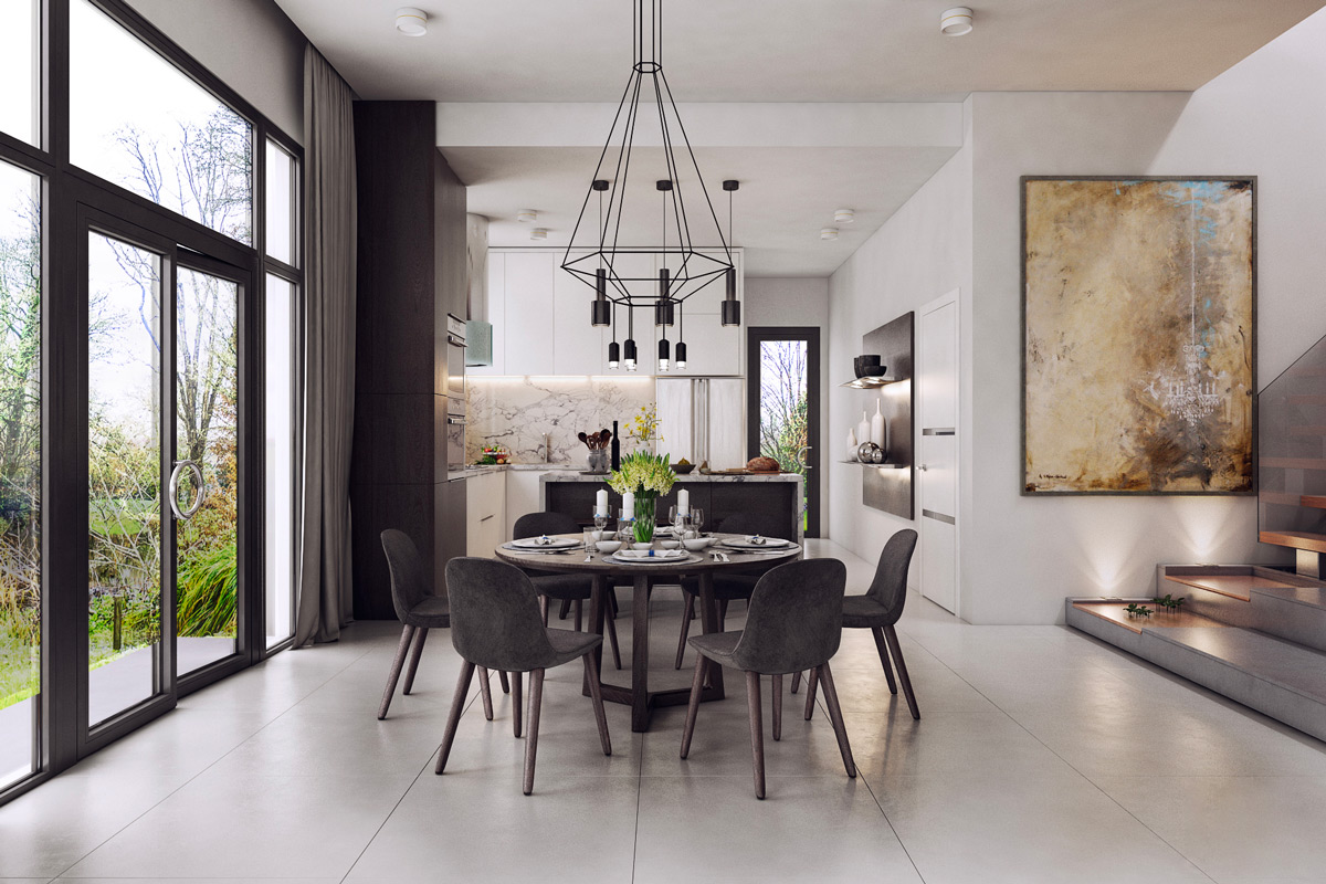 Stencil Chandelier Tiled Floor Monochrome Dining Room - 30 black white dining rooms that work their monochrome magic